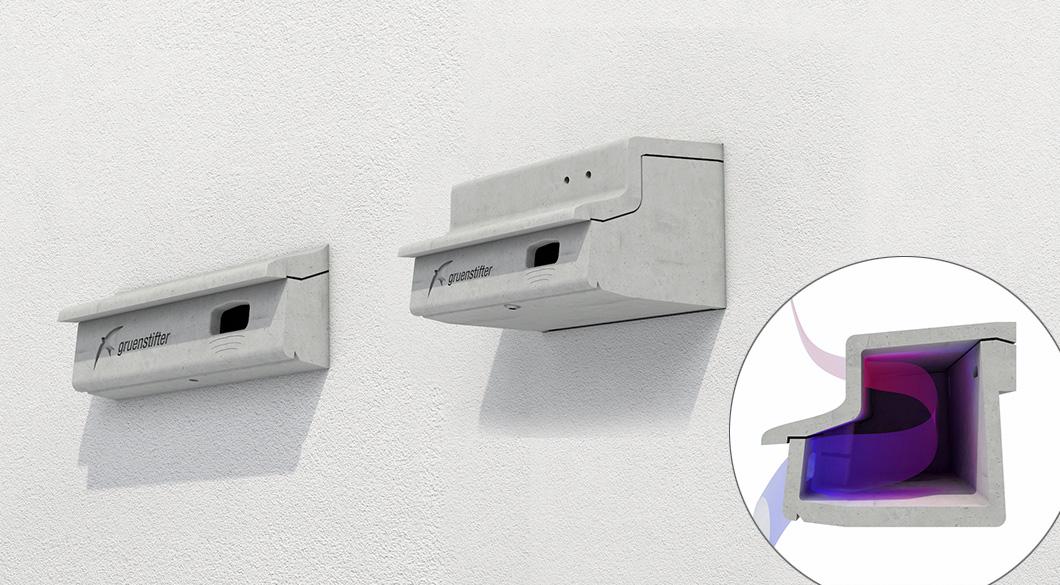 Mauerseglernistkasten an Hausfassad in WDV-System integrierte
