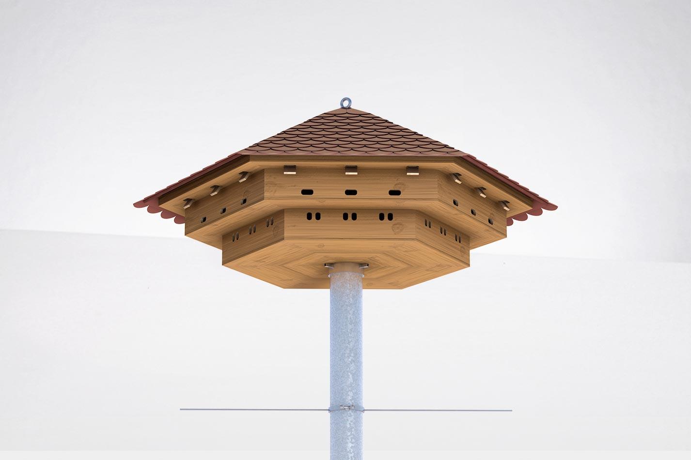 Sperlingshaus aus Holz mit Stahlmast und 54 Brutkammern